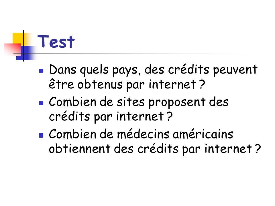 Test Dans quels pays, des crédits peuvent être obtenus par internet ? Combien de sites proposent des crédits par internet ? Combien de médecins améric