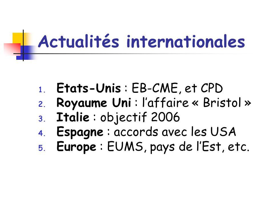 Actualités internationales 1. Etats-Unis : EB-CME, et CPD 2. Royaume Uni : laffaire « Bristol » 3. Italie : objectif 2006 4. Espagne : accords avec le