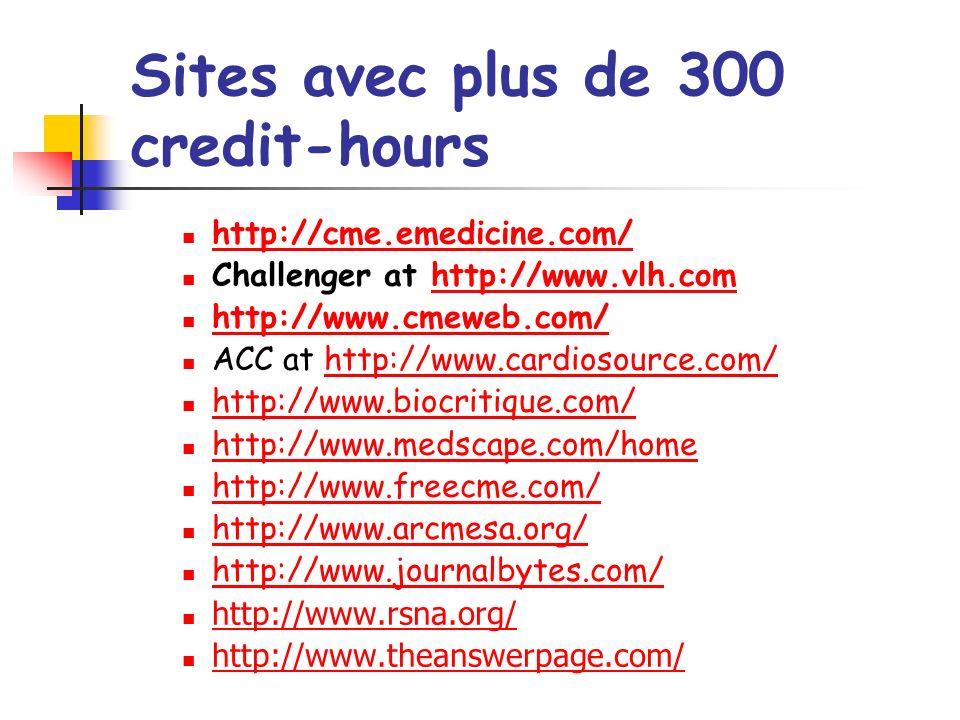 Sites avec plus de 300 credit-hours http://cme.emedicine.com/ Challenger at http://www.vlh.comhttp://www.vlh.com http://www.cmeweb.com/ ACC at http://www.cardiosource.com/http://www.cardiosource.com/ http://www.biocritique.com/ http://www.medscape.com/home http://www.freecme.com/ http://www.arcmesa.org/ http://www.journalbytes.com/ http://www.rsna.org/ http://www.theanswerpage.com/