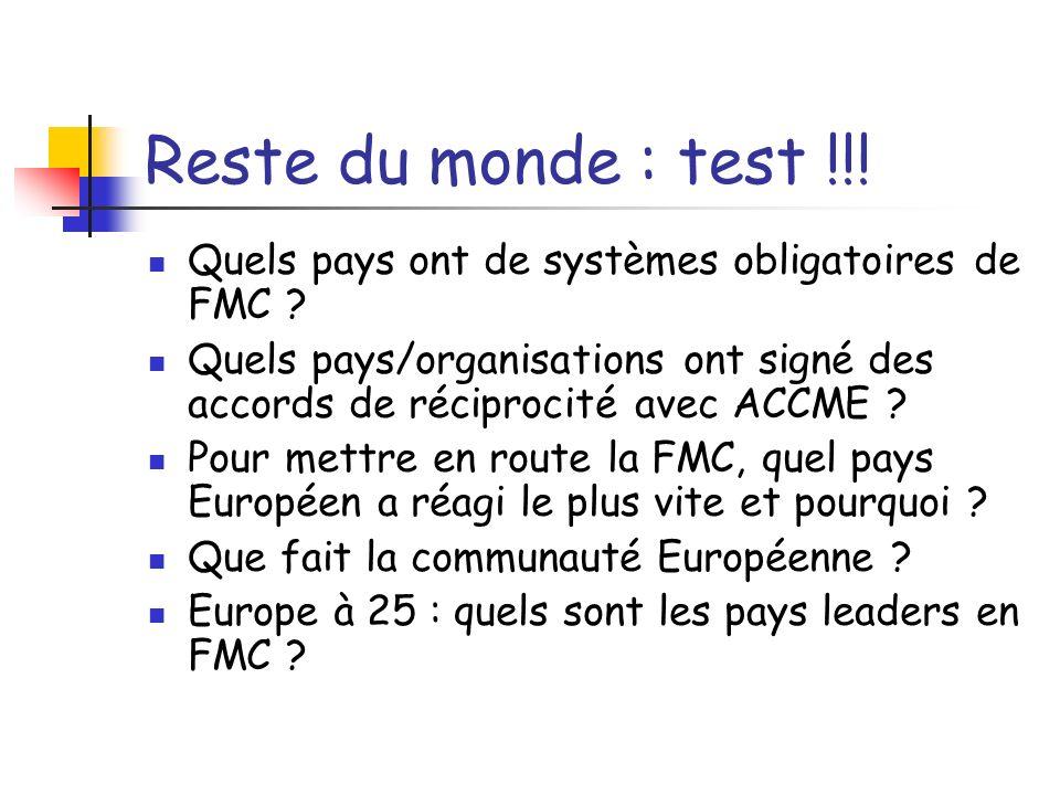 Reste du monde : test !!! Quels pays ont de systèmes obligatoires de FMC ? Quels pays/organisations ont signé des accords de réciprocité avec ACCME ?