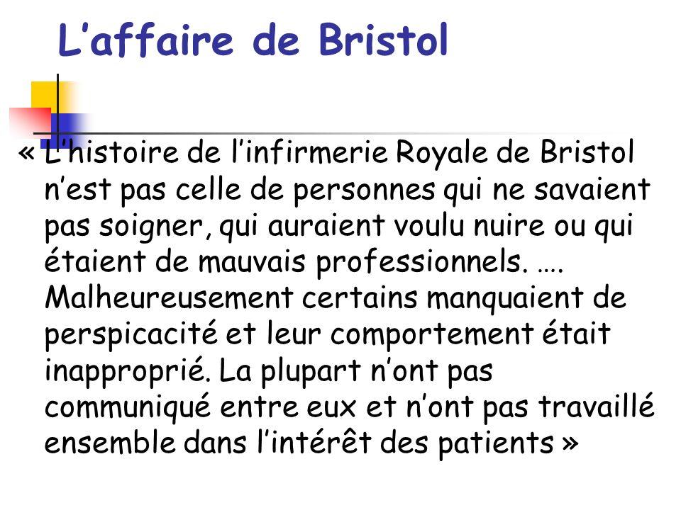 Laffaire de Bristol « Lhistoire de linfirmerie Royale de Bristol nest pas celle de personnes qui ne savaient pas soigner, qui auraient voulu nuire ou qui étaient de mauvais professionnels.