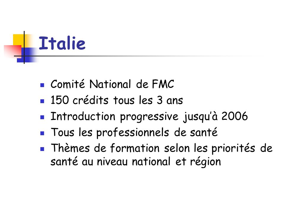 Italie Comité National de FMC 150 crédits tous les 3 ans Introduction progressive jusquà 2006 Tous les professionnels de santé Thèmes de formation selon les priorités de santé au niveau national et région
