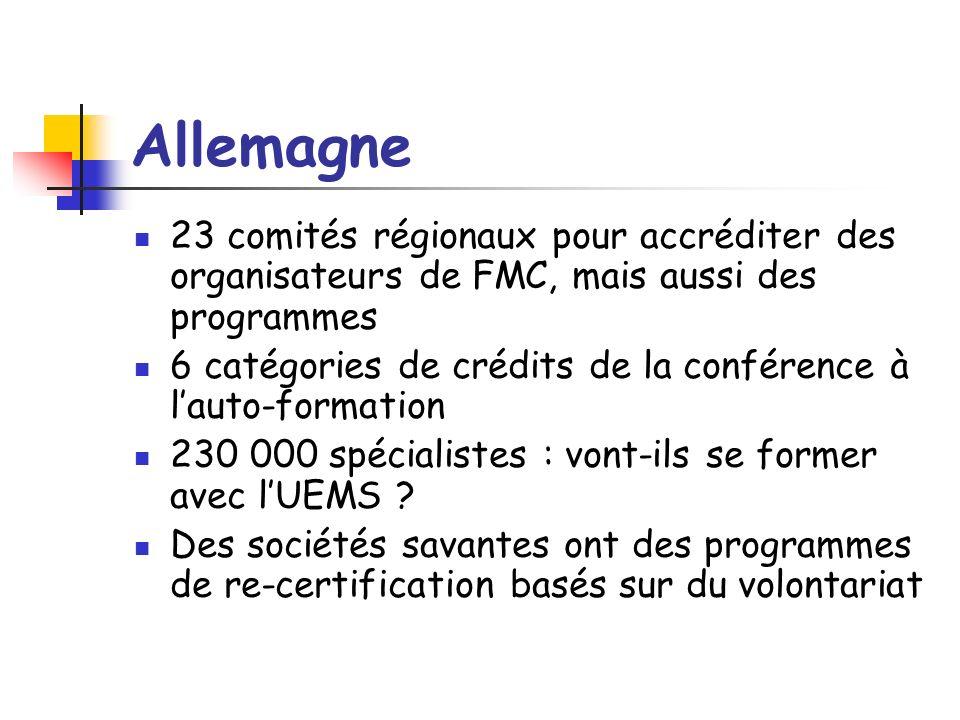 Allemagne 23 comités régionaux pour accréditer des organisateurs de FMC, mais aussi des programmes 6 catégories de crédits de la conférence à lauto-formation 230 000 spécialistes : vont-ils se former avec lUEMS .