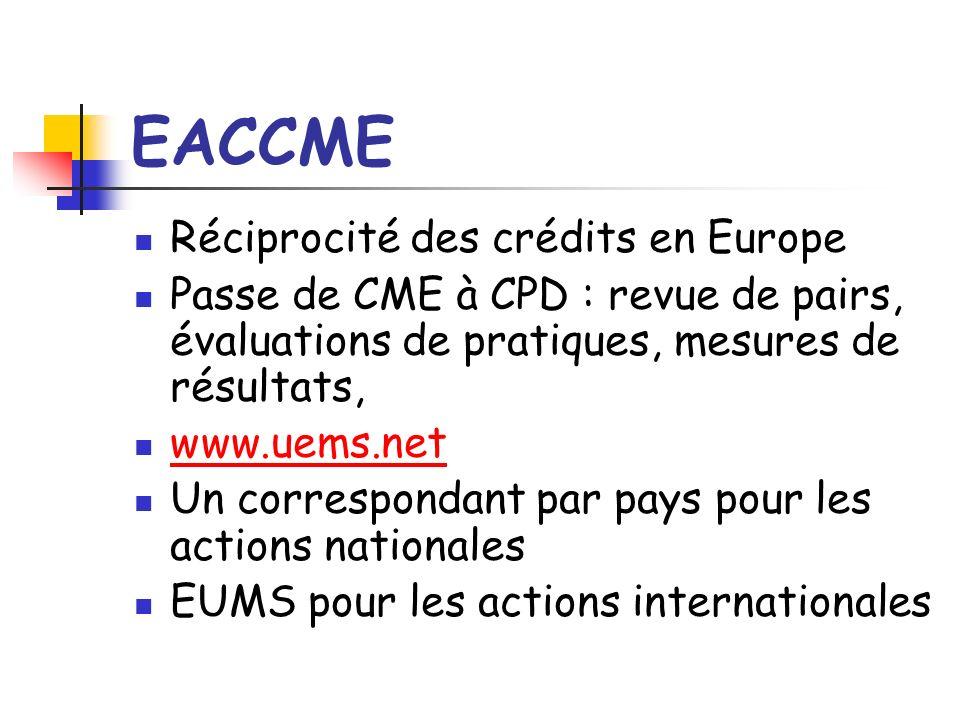 EACCME Réciprocité des crédits en Europe Passe de CME à CPD : revue de pairs, évaluations de pratiques, mesures de résultats, www.uems.net Un correspondant par pays pour les actions nationales EUMS pour les actions internationales