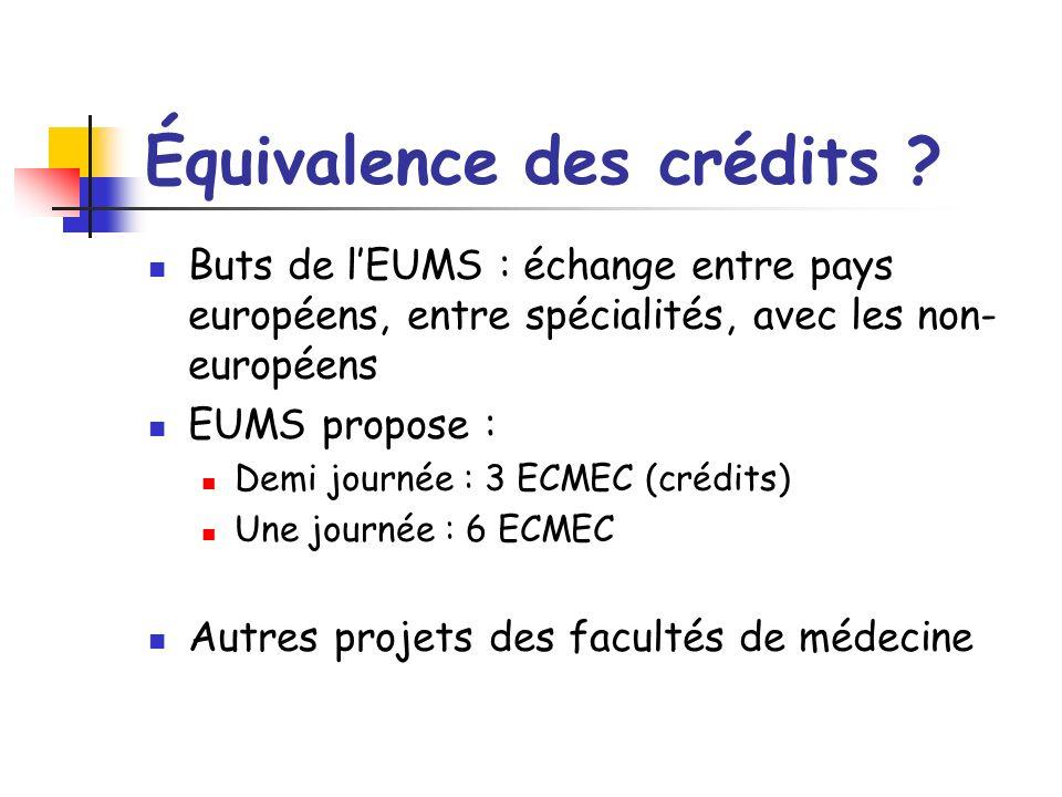 Équivalence des crédits ? Buts de lEUMS : échange entre pays européens, entre spécialités, avec les non- européens EUMS propose : Demi journée : 3 ECM