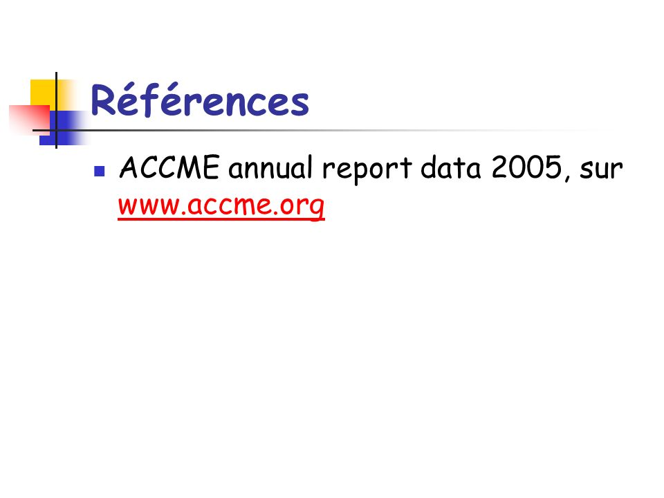 Références ACCME annual report data 2005, sur www.accme.org www.accme.org