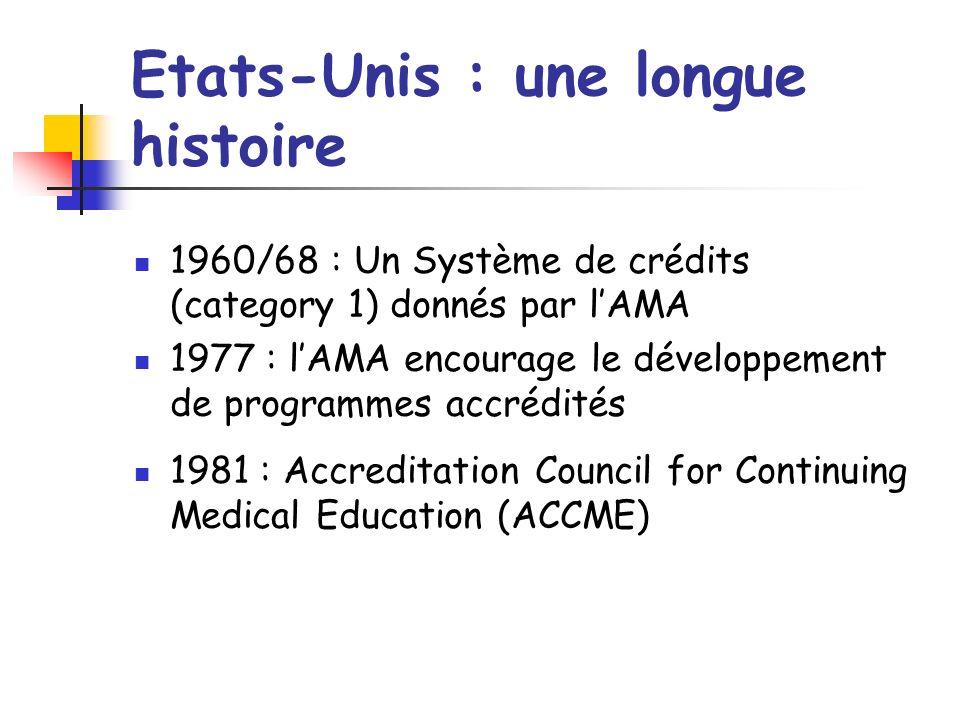Etats-Unis : une longue histoire 1960/68 : Un Système de crédits (category 1) donnés par lAMA 1977 : lAMA encourage le développement de programmes accrédités 1981 : Accreditation Council for Continuing Medical Education (ACCME)