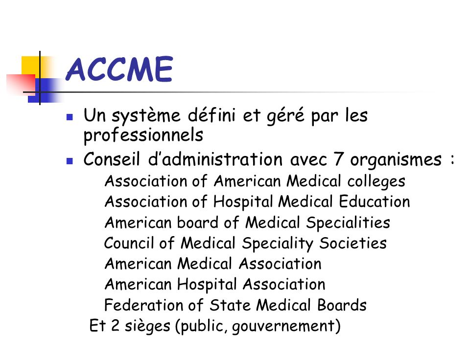 ACCME Un système défini et géré par les professionnels Conseil dadministration avec 7 organismes : Association of American Medical colleges Association of Hospital Medical Education American board of Medical Specialities Council of Medical Speciality Societies American Medical Association American Hospital Association Federation of State Medical Boards Et 2 sièges (public, gouvernement)
