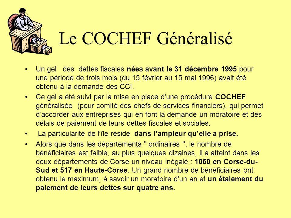 Le COCHEF Généralisé Un gel des dettes fiscales nées avant le 31 décembre 1995 pour une période de trois mois (du 15 février au 15 mai 1996) avait été