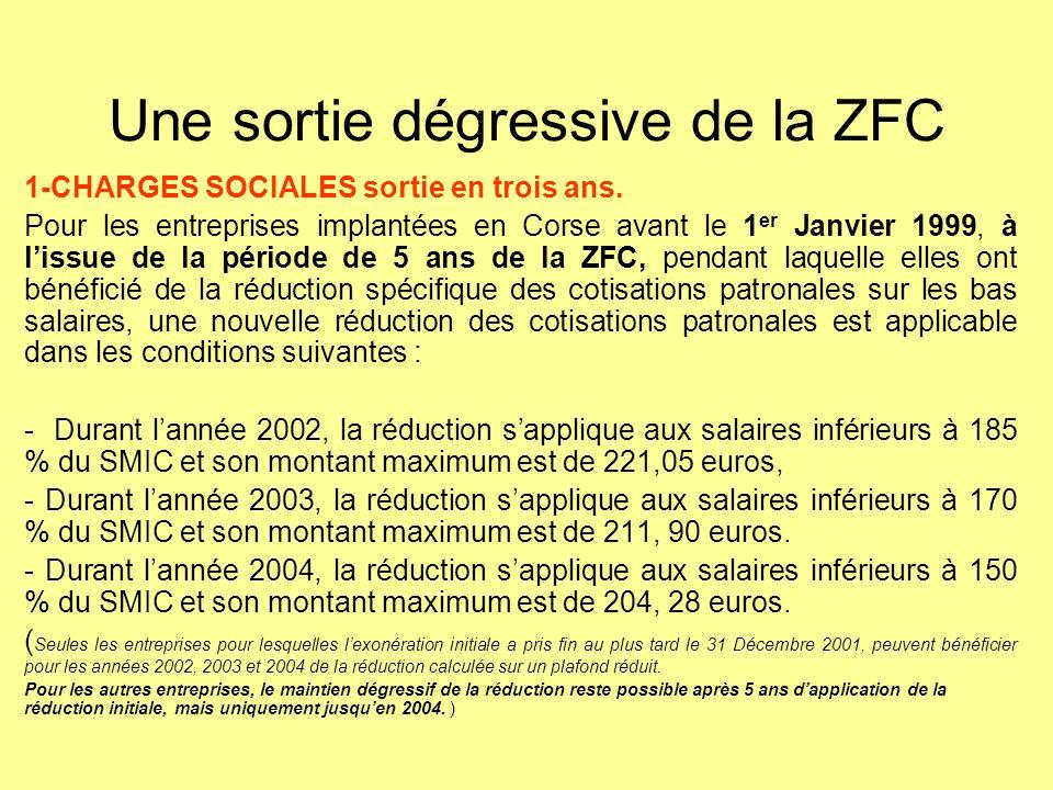 Une sortie dégressive de la ZFC 1-CHARGES SOCIALES sortie en trois ans. Pour les entreprises implantées en Corse avant le 1 er Janvier 1999, à lissue