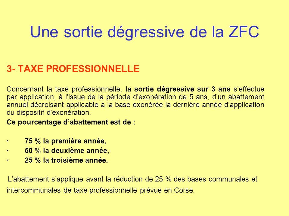 Une sortie dégressive de la ZFC 3- TAXE PROFESSIONNELLE Concernant la taxe professionnelle, la sortie dégressive sur 3 ans seffectue par application,
