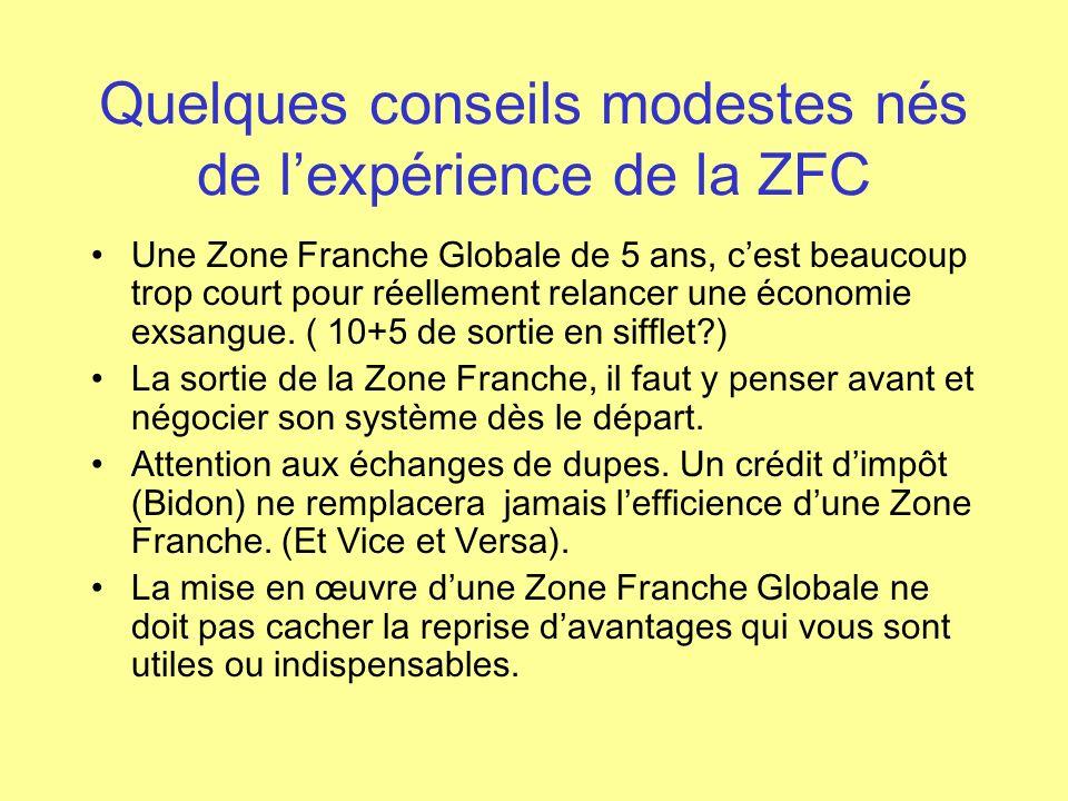 Quelques conseils modestes nés de lexpérience de la ZFC Une Zone Franche Globale de 5 ans, cest beaucoup trop court pour réellement relancer une écono