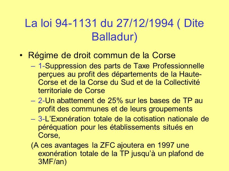 La loi 94-1131 du 27/12/1994 ( Dite Balladur) Régime de droit commun de la Corse –1-Suppression des parts de Taxe Professionnelle perçues au profit de