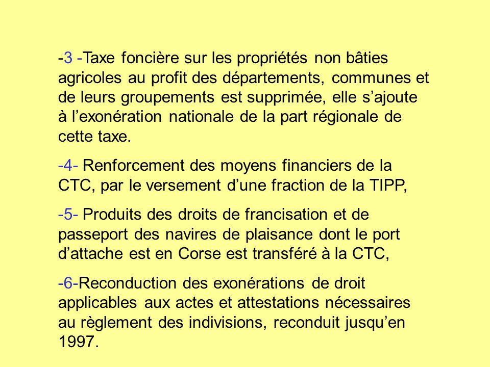 -3 -Taxe foncière sur les propriétés non bâties agricoles au profit des départements, communes et de leurs groupements est supprimée, elle sajoute à l