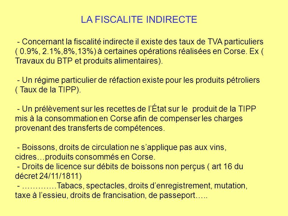 LA FISCALITE INDIRECTE - Concernant la fiscalité indirecte il existe des taux de TVA particuliers ( 0.9%, 2.1%,8%,13%) à certaines opérations réalisée