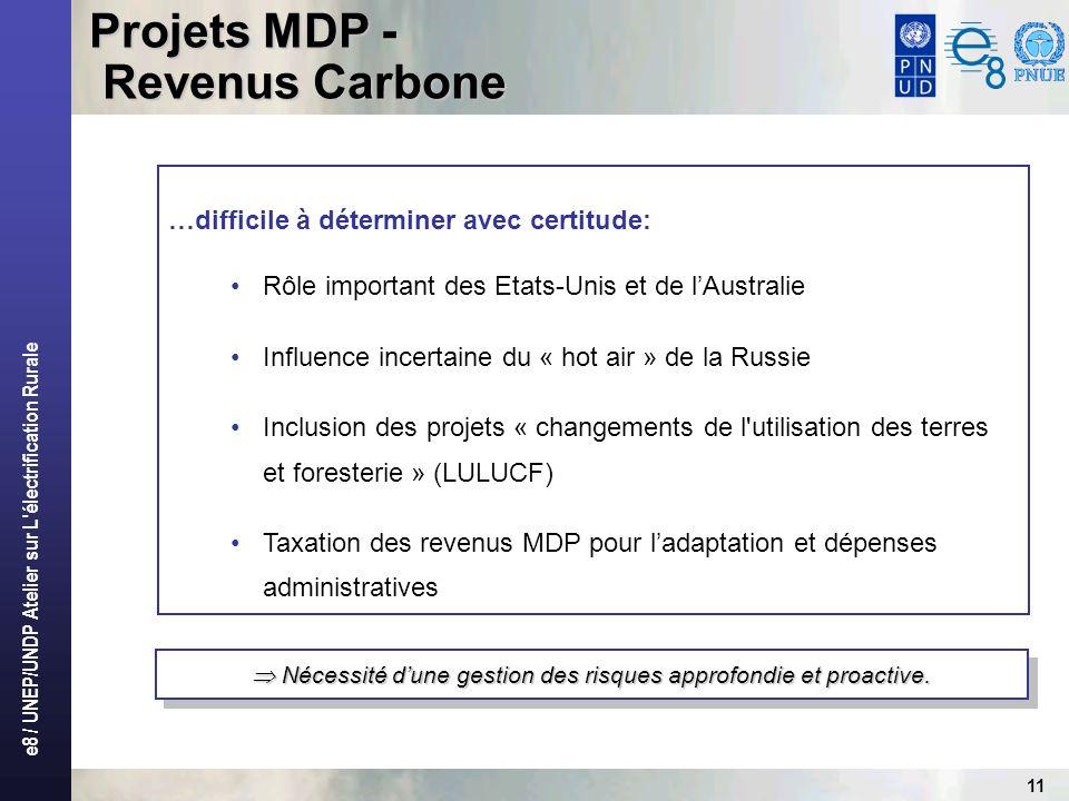 e8 / UNEP/UNDP Atelier sur L électrification Rurale 11 Nécessité dune gestion des risques approfondie et proactive.