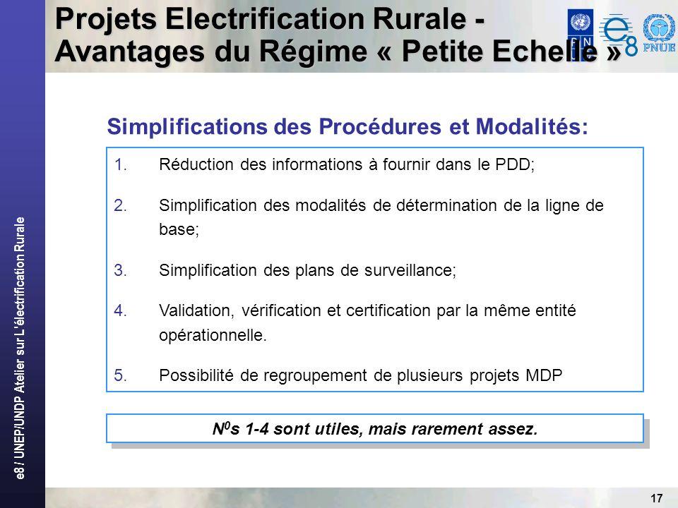 e8 / UNEP/UNDP Atelier sur L électrification Rurale 17 1.Réduction des informations à fournir dans le PDD; 2.Simplification des modalités de détermination de la ligne de base; 3.Simplification des plans de surveillance; 4.Validation, vérification et certification par la même entité opérationnelle.