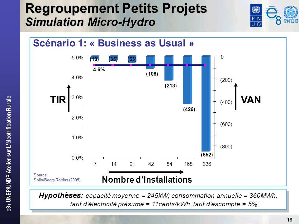e8 / UNEP/UNDP Atelier sur L électrification Rurale 19 Scénario 1: « Business as Usual » Regroupement Petits Projets Simulation Micro-Hydro Hypothèses: capacité moyenne = 245kW; consommation annuelle = 360MWh, tarif délectricité présume = 11cents/kWh, tarif descompte = 5% (106) (213) (426) (852) (35)(53)(18) 4.6% 0.0% 1.0% 2.0% 3.0% 4.0% 5.0% 714214284168336 (800) (600) (400) (200) Nombre dInstallations TIR VAN 0 Source: Solis/Begg/Robins (2005)
