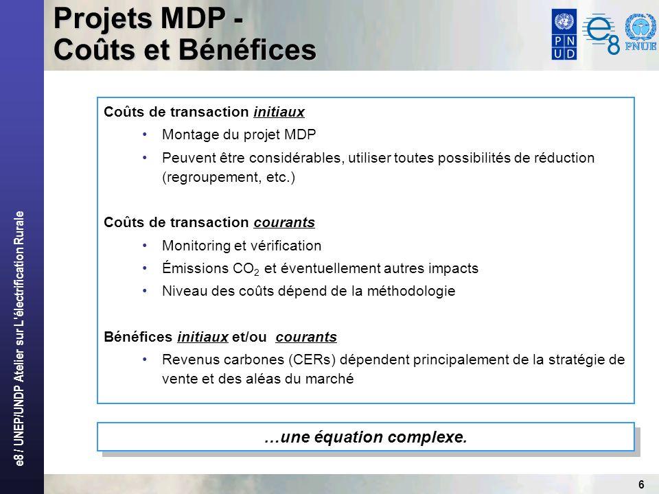 e8 / UNEP/UNDP Atelier sur L électrification Rurale 6 …une équation complexe.