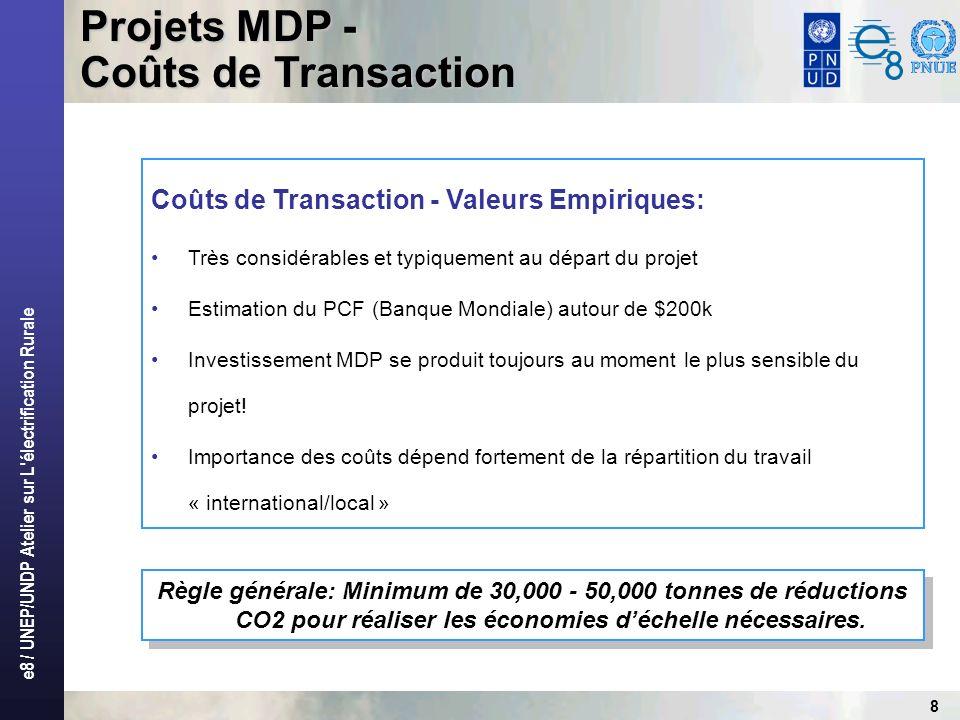 e8 / UNEP/UNDP Atelier sur L électrification Rurale 8 Règle générale: Minimum de 30,000 - 50,000 tonnes de réductions CO2 pour réaliser les économies déchelle nécessaires.