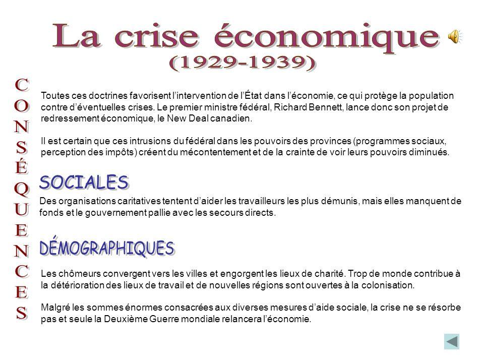 Les exploitations baissent, les banques et les industries font faillite, le chômage sinstalle (25 %). Le produit national brut (PNB) du Canada décroît