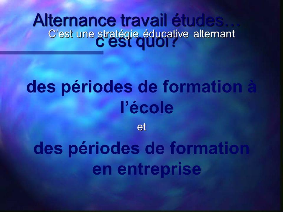 Alternance travail études… Cest le va et vient Cest le va et vient entre les deux milieux qui caractérise lalternance