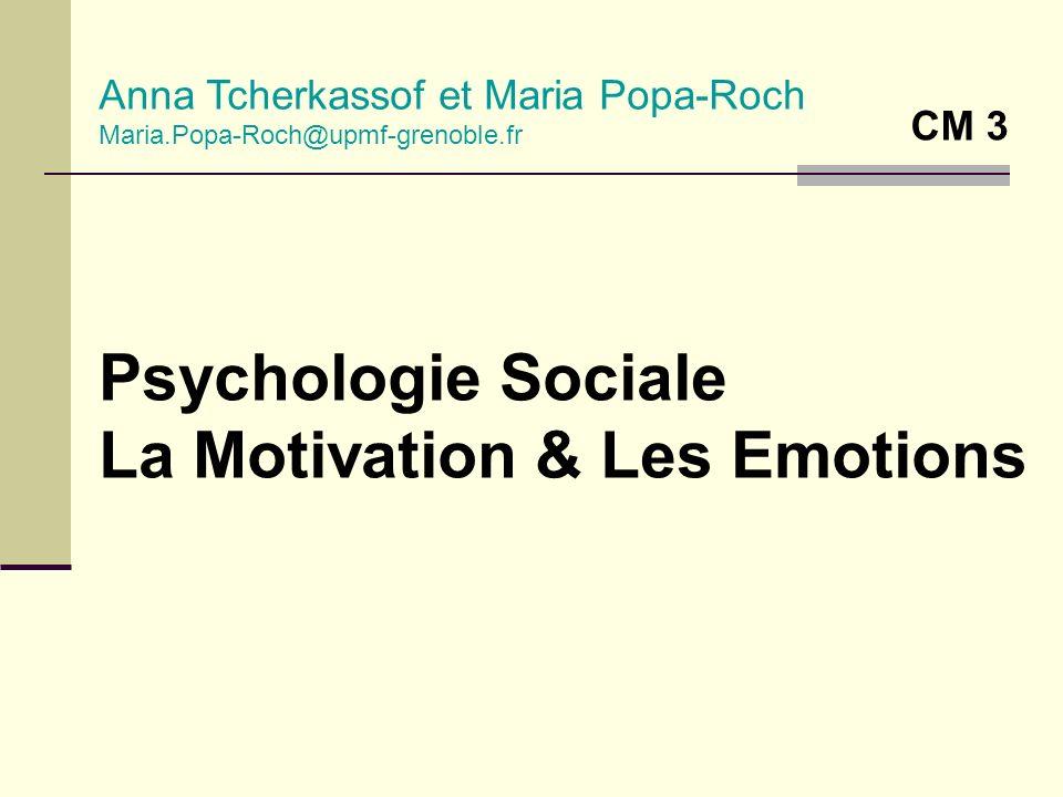 Psychologie Sociale La Motivation & Les Emotions Anna Tcherkassof et Maria Popa-Roch Maria.Popa-Roch@upmf-grenoble.fr CM 3