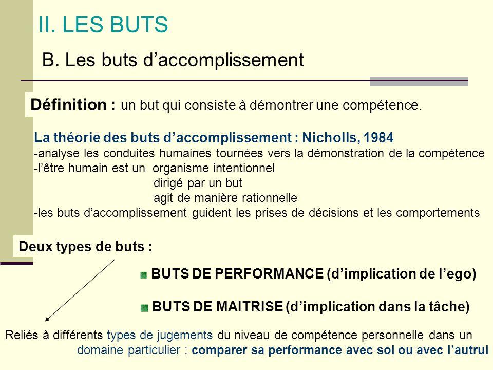 II. LES BUTS B. Les buts daccomplissement Définition : un but qui consiste à démontrer une compétence. La théorie des buts daccomplissement : Nicholls