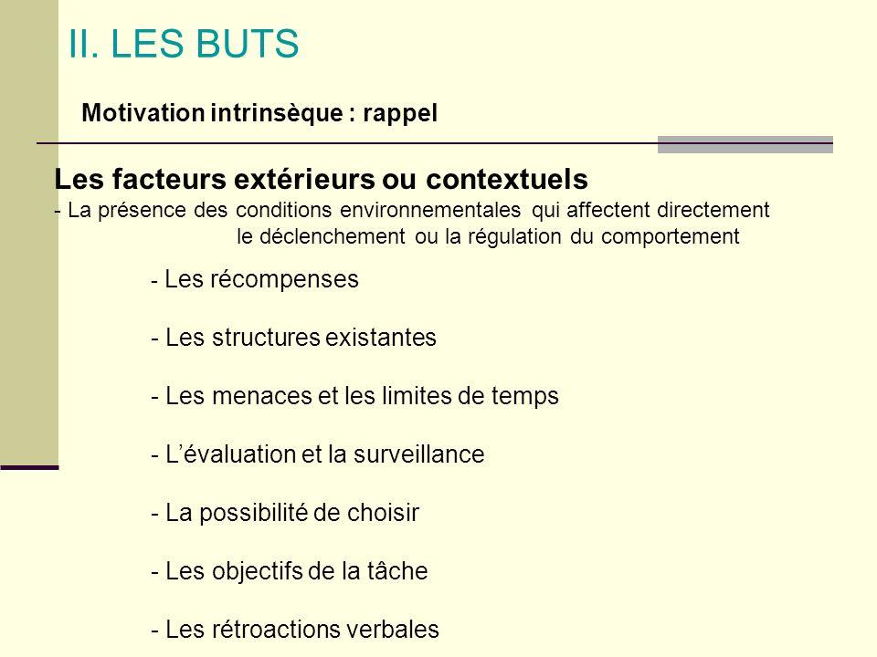 II. LES BUTS Les facteurs extérieurs ou contextuels - La présence des conditions environnementales qui affectent directement le déclenchement ou la ré