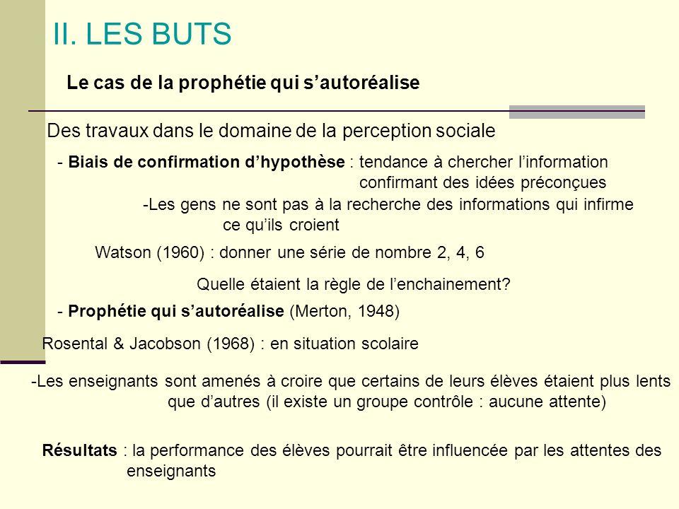 II. LES BUTS Le cas de la prophétie qui sautoréalise Des travaux dans le domaine de la perception sociale - Biais de confirmation dhypothèse : tendanc