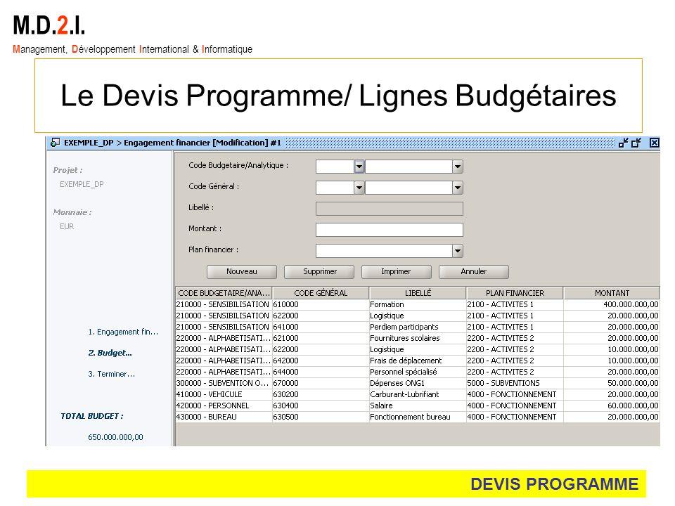 M.D.2.I. M anagement, D éveloppement I nternational & I nformatique Le Devis Programme/ Lignes Budgétaires DEVIS PROGRAMME