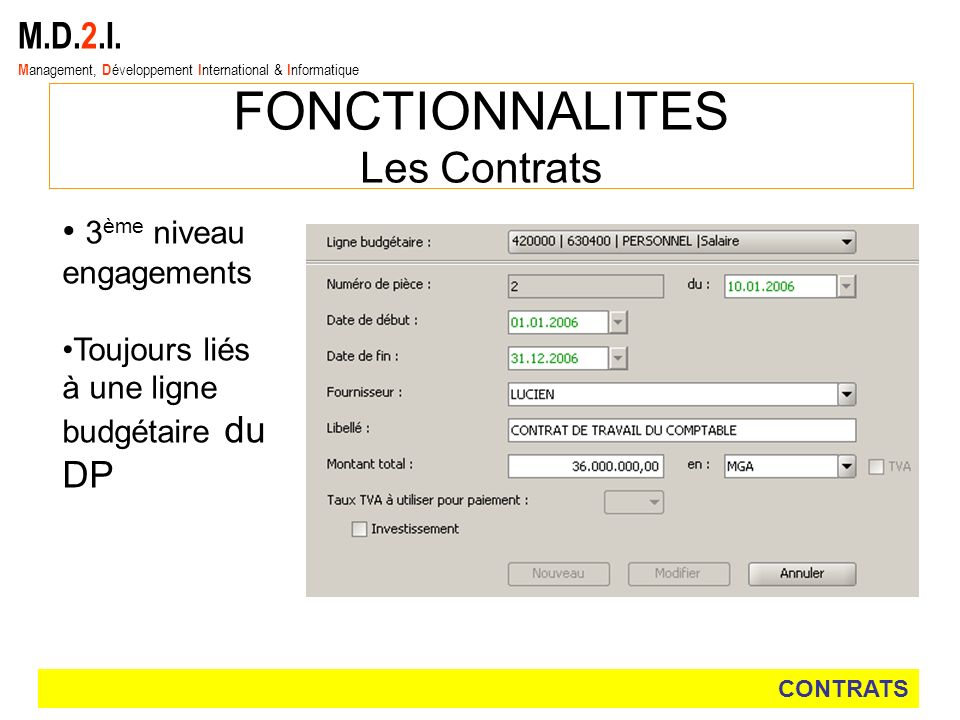 M.D.2.I. M anagement, D éveloppement I nternational & I nformatique FONCTIONNALITES Les Contrats CONTRATS 3 ème niveau engagements Toujours liés à une