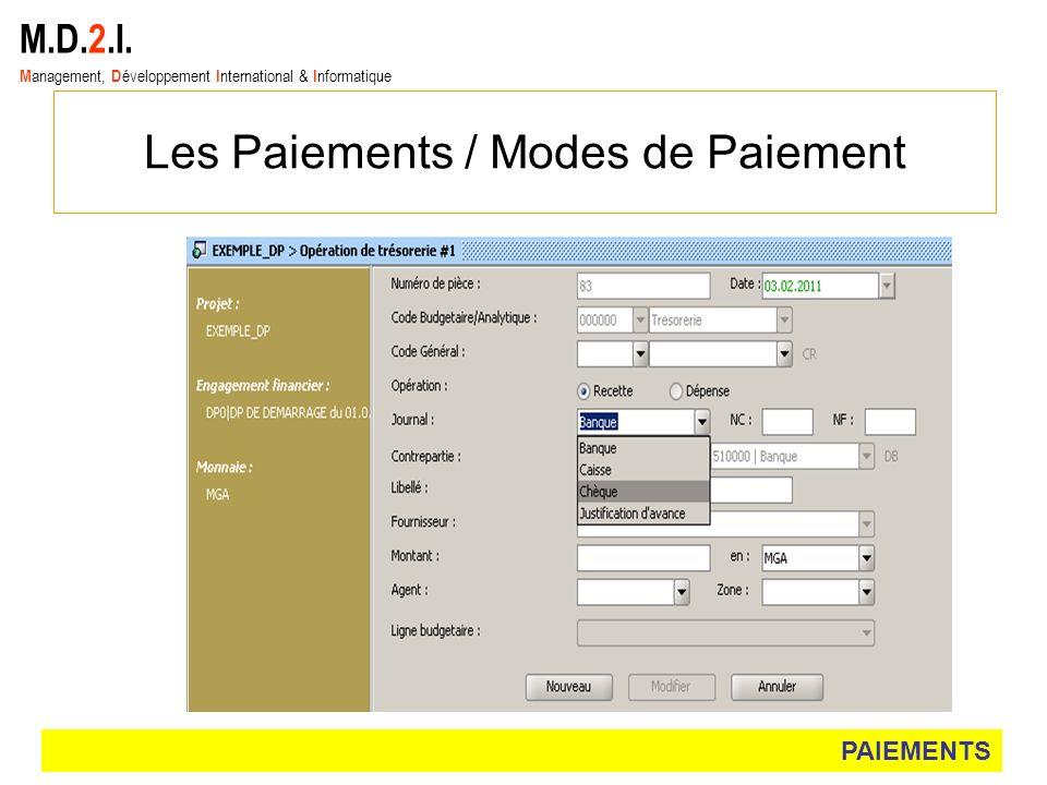 M.D.2.I. M anagement, D éveloppement I nternational & I nformatique Les Paiements / Modes de Paiement PAIEMENTS