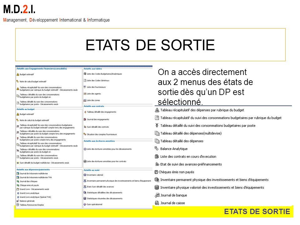 ETATS DE SORTIE M.D.2.I. M anagement, D éveloppement I nternational & I nformatique On a accès directement aux 2 menus des états de sortie dès quun DP