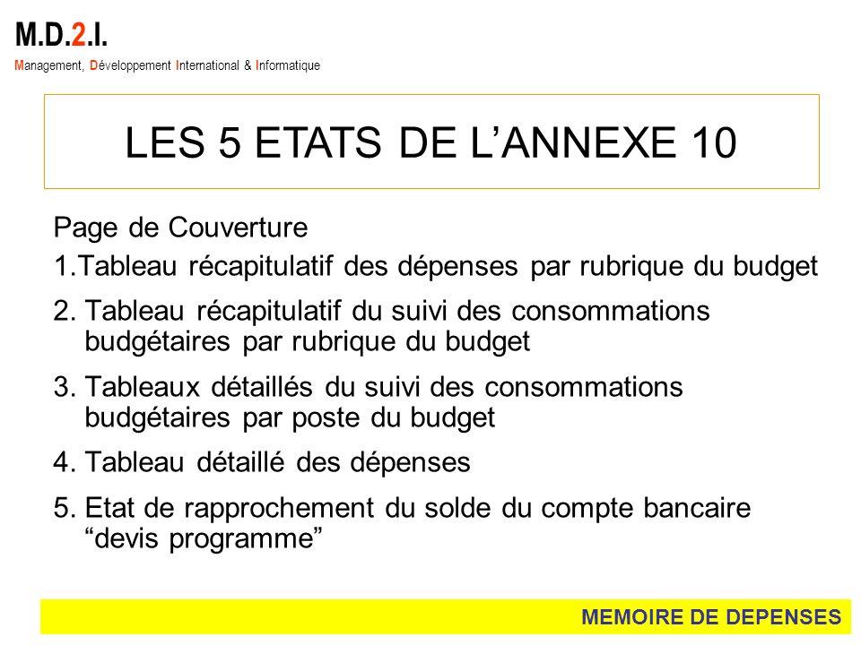 M.D.2.I. M anagement, D éveloppement I nternational & I nformatique LES 5 ETATS DE LANNEXE 10 Page de Couverture 1.Tableau récapitulatif des dépenses