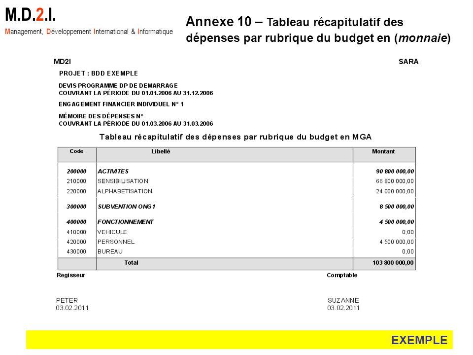 EXEMPLE M.D.2.I. M anagement, D éveloppement I nternational & I nformatique Annexe 10 – Tableau récapitulatif des dépenses par rubrique du budget en (