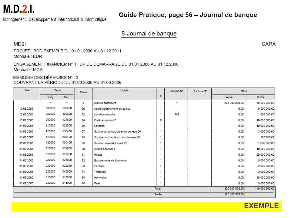 EXEMPLE M.D.2.I. M anagement, D éveloppement I nternational & I nformatique Guide Pratique, page 56 – Journal de banque