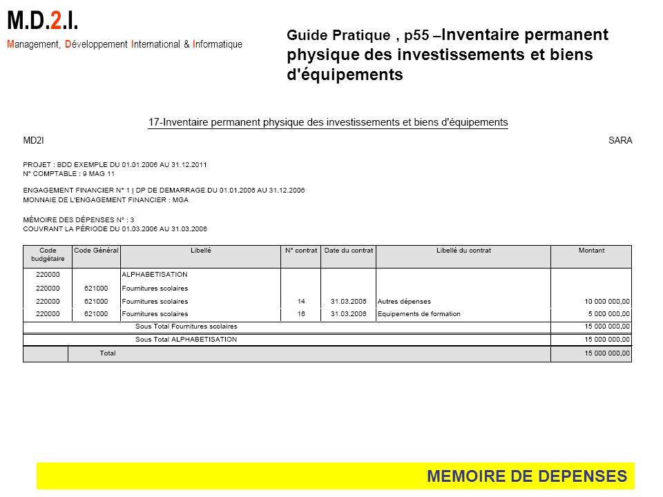MEMOIRE DE DEPENSES M.D.2.I. M anagement, D éveloppement I nternational & I nformatique Guide Pratique, p55 – Inventaire permanent physique des invest