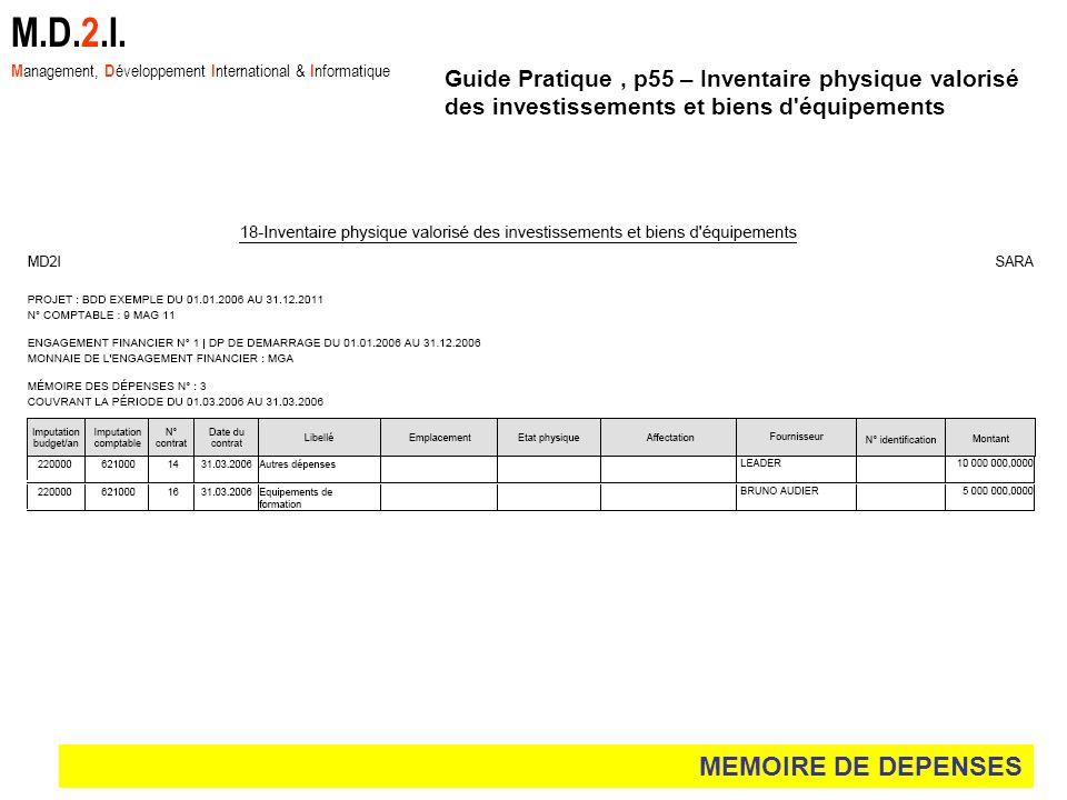 MEMOIRE DE DEPENSES M.D.2.I. M anagement, D éveloppement I nternational & I nformatique Guide Pratique, p55 – Inventaire physique valorisé des investi