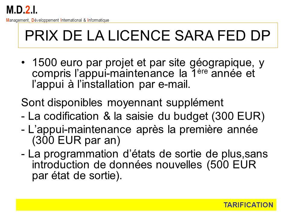 1500 euro par projet et par site géograpique, y compris lappui-maintenance la 1 ère année et lappui à linstallation par e-mail. Sont disponibles moyen