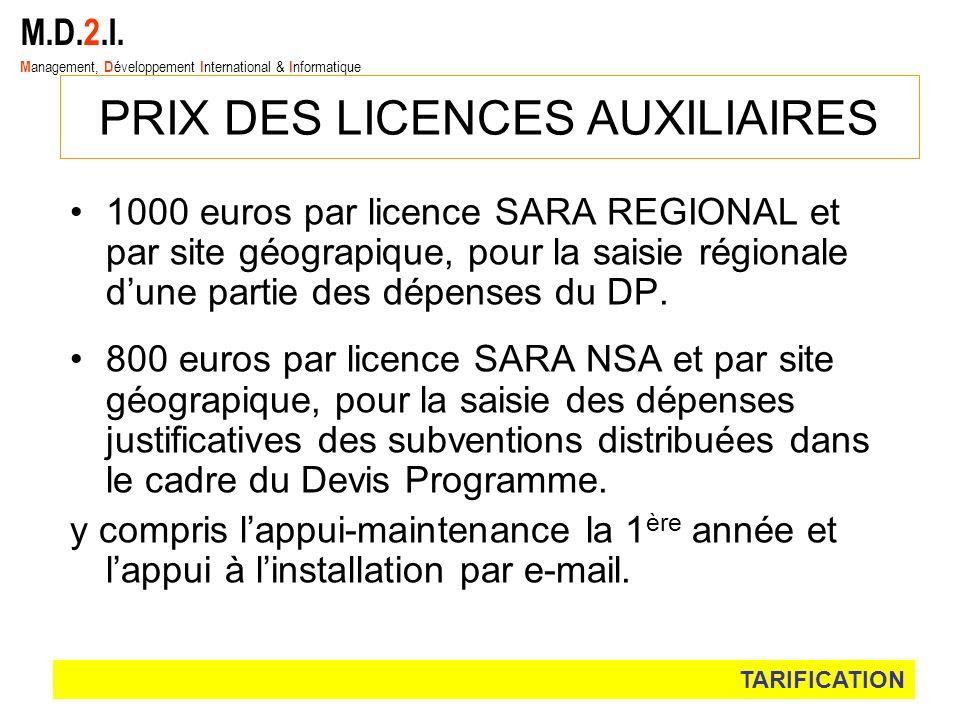 1000 euros par licence SARA REGIONAL et par site géograpique, pour la saisie régionale dune partie des dépenses du DP. 800 euros par licence SARA NSA