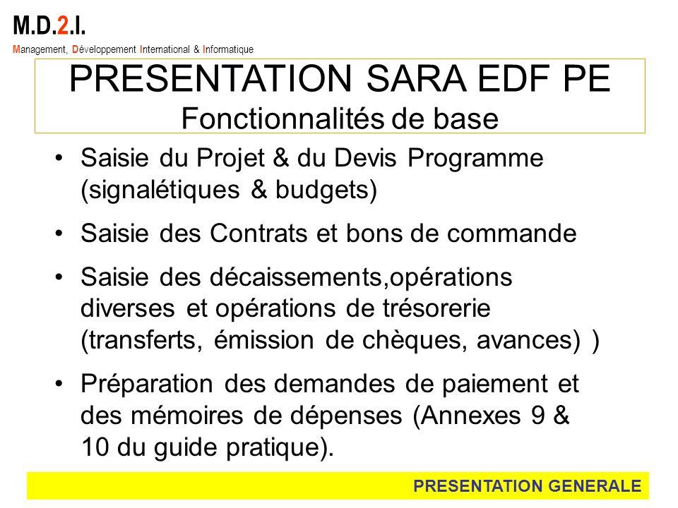 M.D.2.I. M anagement, D éveloppement I nternational & I nformatique PRESENTATION SARA EDF PE Fonctionnalités de base Saisie du Projet & du Devis Progr