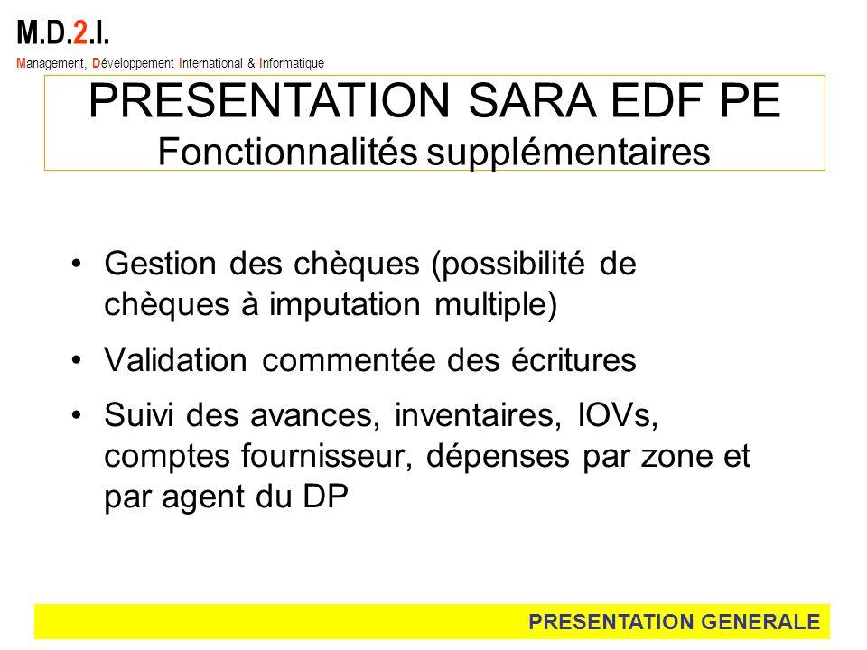M.D.2.I. M anagement, D éveloppement I nternational & I nformatique PRESENTATION SARA EDF PE Fonctionnalités supplémentaires Gestion des chèques (poss