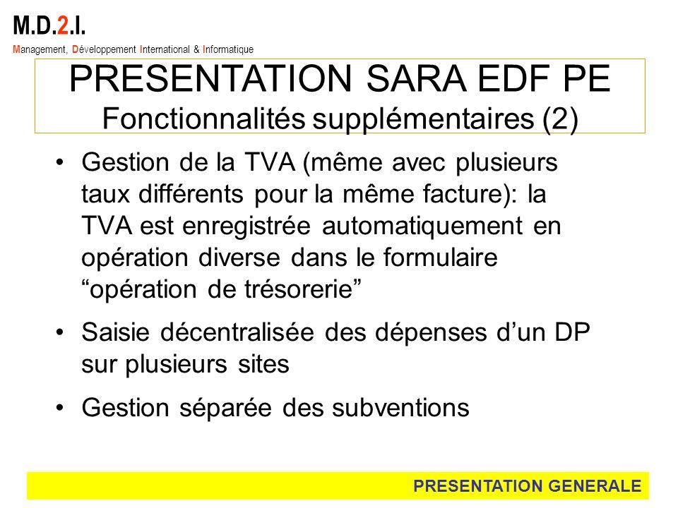 M.D.2.I. M anagement, D éveloppement I nternational & I nformatique PRESENTATION SARA EDF PE Fonctionnalités supplémentaires (2) Gestion de la TVA (mê