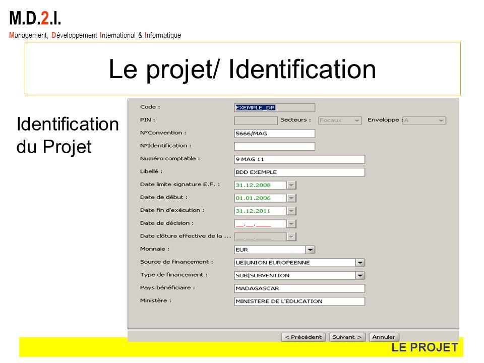 M.D.2.I. M anagement, D éveloppement I nternational & I nformatique Le projet/ Identification LE PROJET Identification du Projet