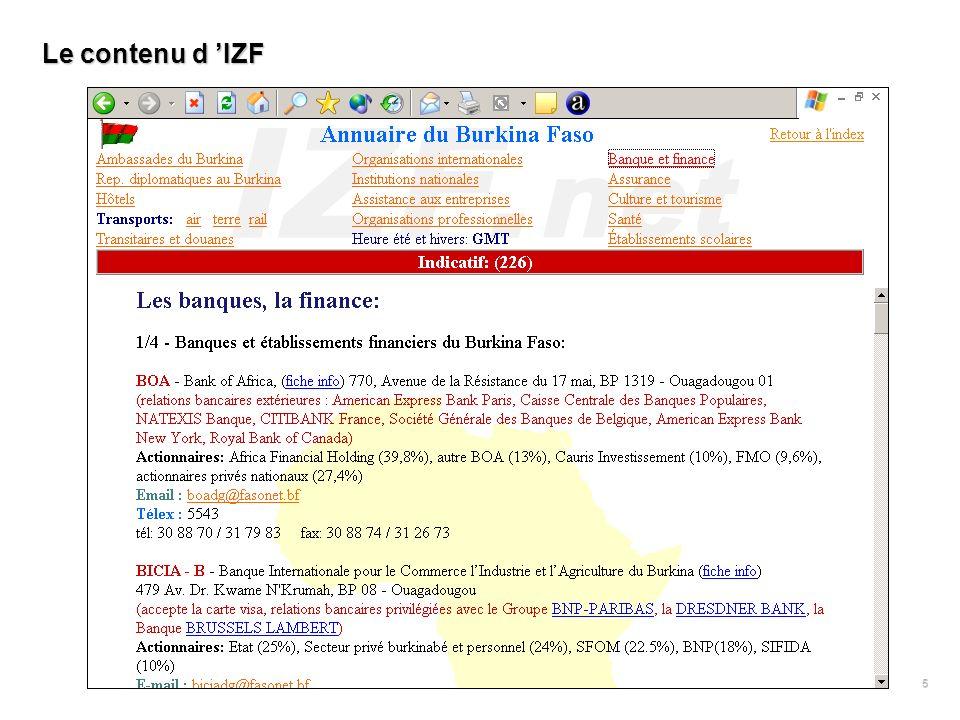 5 Le contenu d IZF
