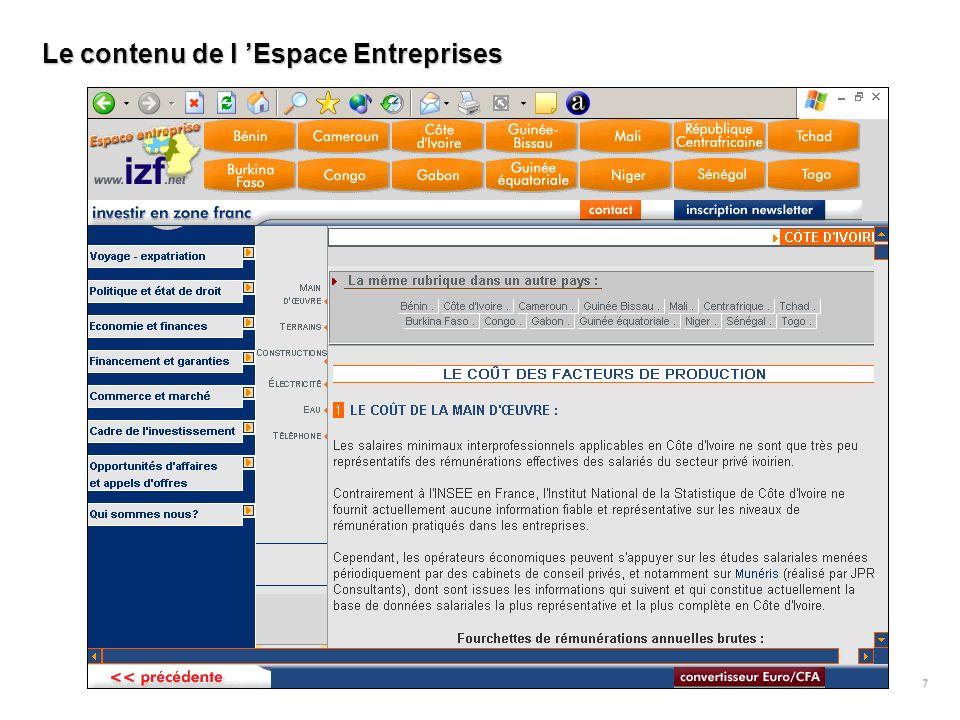 UBIFRANCE Paris IZF UEMOA Ouagadougou IZF CEMAC Bangui Missions Economiques des Ambassades de France Correspondants national Correspondant à Malabo en cours de recrutement Le réseau de correspondants nationaux 8