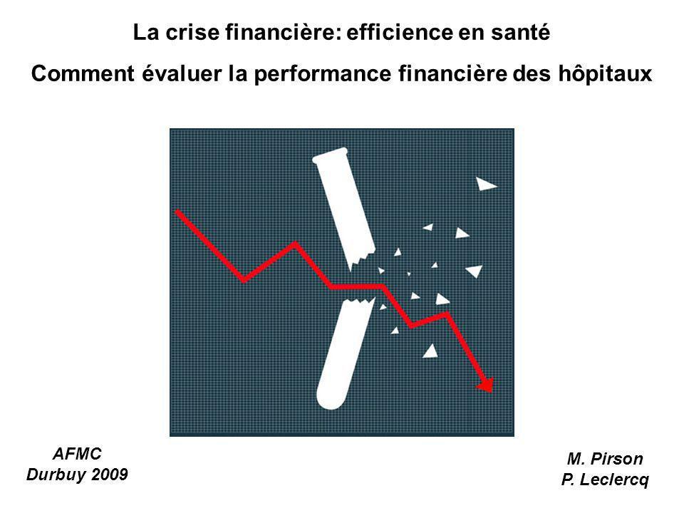 La crise financière: efficience en santé Comment évaluer la performance financière des hôpitaux AFMC Durbuy 2009 M. Pirson P. Leclercq