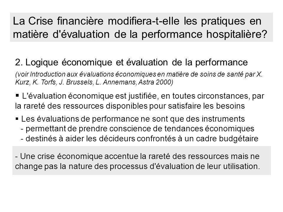 La Crise financière modifiera-t-elle les pratiques en matière d'évaluation de la performance hospitalière? 2. Logique économique et évaluation de la p