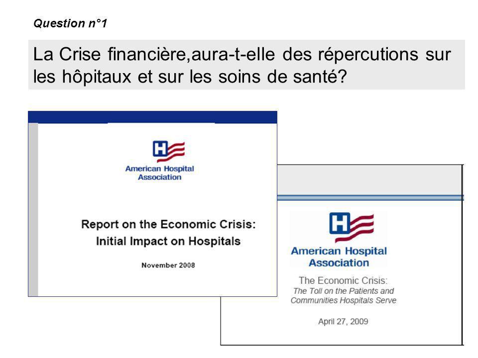 La Crise financière,aura-t-elle des répercutions sur les hôpitaux et sur les soins de santé? Question n°1